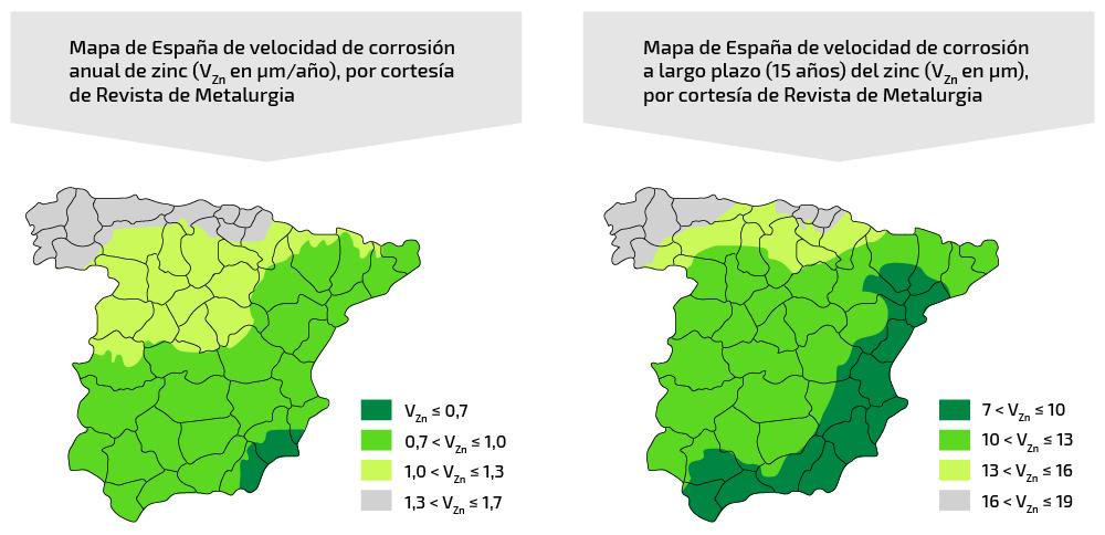 Mapa España velocidad de corrosión zinc