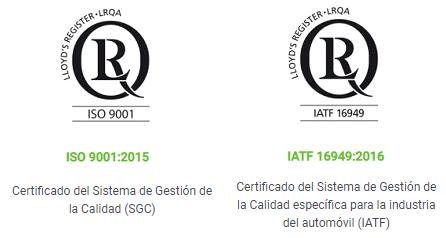 Certificación ISO 9001:2015 & Certificación IATF 16949:2016