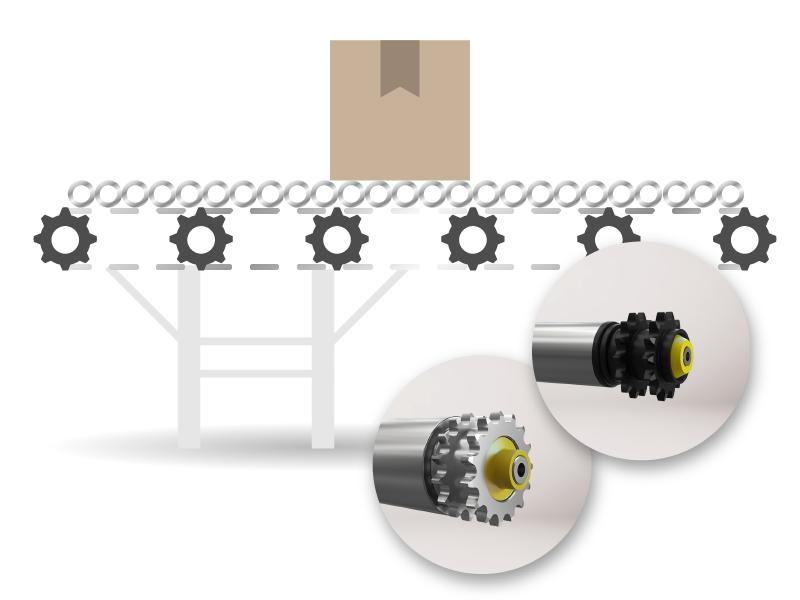 Transportador de rodillos activos accionados por cadena