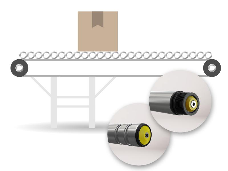 Transportador de rodillos activos accionados por correa