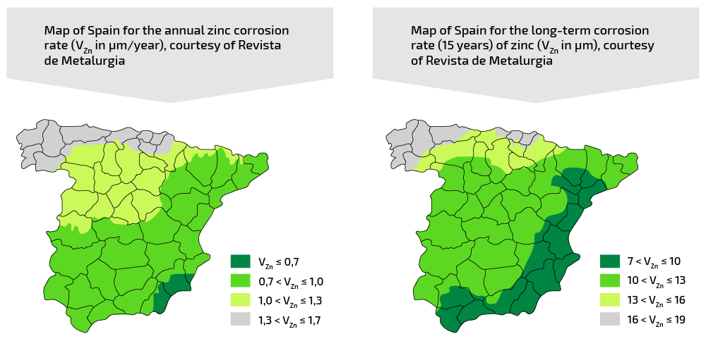 Map of Spain Zin Corrosion Rate